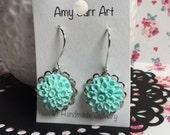 Chrysanthemum Flower Dangle Earrings, colorful earrings