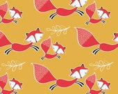 Mustard Foxes Fat Quarter Andrea Turk Camelot Fabrics Mustard Yellow Fabric Woodland Fabric Mama and Me Collection Fox Fabric Fox Quilt Red