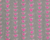 Rough Cuts by Ellen Baker Double Gauze Fabric - Neon Pink Triangles Made in Japan Kokka - Lightweight Cotton -  Light Gray and Pink Fabric