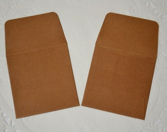 """25 - 2"""" x 2"""" Mini paper envelopes for cards tags small tiny dark brown"""