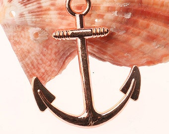 Fashion Rose-gold Boat Anchor Design Charms/Connector 8pc EF0371