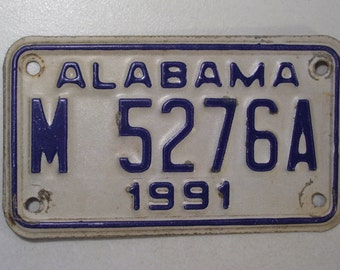 Vintage 1991 Alabama Motorcycle License Plate, Cycle Tag