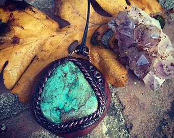 Turquoise polymer clay pendant