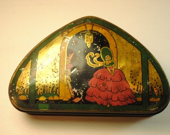 TOFFEE Candy tin southern belle clown antique tin triangle unusual Lyons Rare love Desk Office Studio art Vanity bedroom MASON LYONS  candy