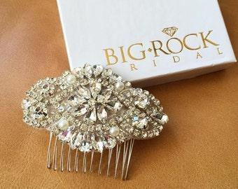 Wedding Hairpiece - Rhinestone and Pearl Haircomb