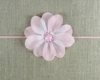 Pearl Pink silk flower headband