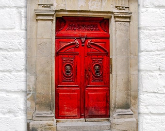 Door Photography, France Art, Red Doors in France, Large Wall Art of Paris, French Red Color, Door Art for Collage, Door Collage, Bright