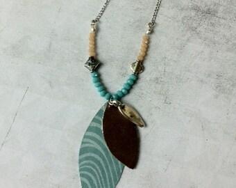 Boho Necklace glass beads, leather and paper - boho chic - lockets - charm leaf shape