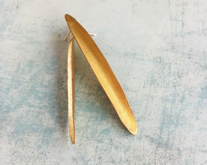 Brass stud long oval shape - golden earrings - minimalist summer jewelry - leaf shape - simple golden earrings - contemporary jewellery