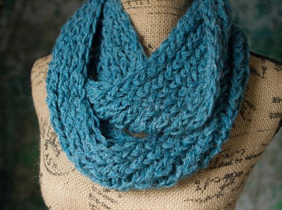 Knit Infinity Scarf - Blue Double Knit