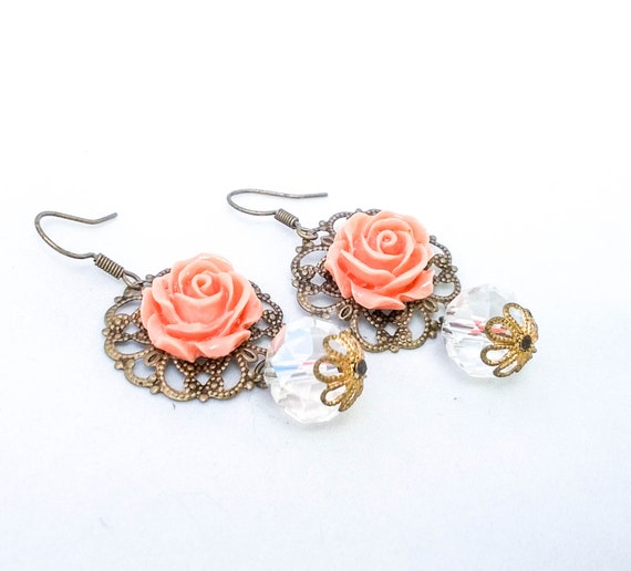 Vintage Gold filigree Framed Peach Rose Dangle Earrings with White Crystal and Filigree Bead Caps