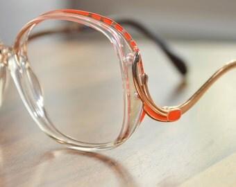 Vintage Orange an Clear Art Craft Oversized Drop Arm Eyeglasses Frame Israel 53/15