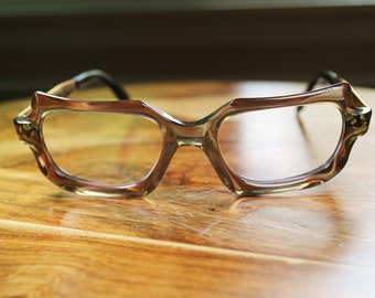 Vintage Rainbow Square Eyeglasses with gold metal temples discount price