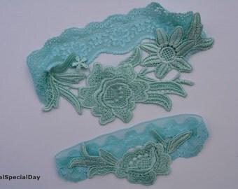 Mint Wedding Garter, Mint garter set, Mint garter, Mint bridal garter, Wedding Garters, Bridal Garter, Lace Wedding Garter, Wedding Garter