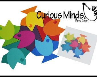 Fish Tessellation Patterns Learning Activity - Wooden fish blocks toy, Montessori