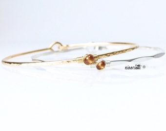 Genuine Spessartite Garnet Bracelet / January Birthstone / 14k Gold Fill Spessartite Bangle / Gift for Her / Orange Gemstone Jewelry