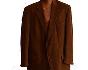Vintage Cashmere Blazer by Pavone Made in Canada Tan Brown 48 Regular Pure Cashmere Sportcoat For Men Fully Lined Single Breasted