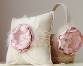 Flower Girl Basket,  Ring Bearer Pillow,  Wedding,  Dusty Mauve Flower Girl Basket,  Vintage Basket and Pillow Set
