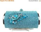 SALE 30% OFF Crystal Clutch, Aqua Rhinestone Bridal Clutch Aqua Rhinestone, Wedding Purse, Aqua Crystal