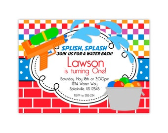 Water Party Invitation - Red Brick and Rainbow Squares, Water Balloons and Gun Personalized Birthday Party Invite - Digital Printable File