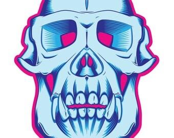 Retro Chimp Skull Print