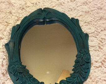 Painted mirror/ mirror and shelf wall grouping/ wall mirror/ wall shelf/ boho mirror