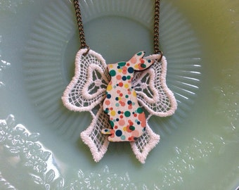 Lace bow bunny necklace