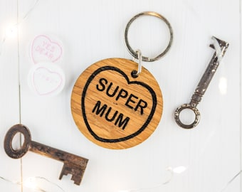 Personalised Mums Keyring - Mum Keyring - Gift For Mum - Mum Gift - Wooden Keyring - Gift For Her - Wooden Hearts - Oak Gift