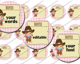 Editable Little Cowgirl  Bottle Cap Images, 1 inch circle image sheet, Digital Collage Sheet, INSTANT DOWNLOAD  Printable, Cupcake Toppers