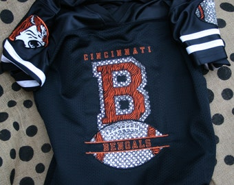Bengals Tigers Inspired Monogrammed Applique Personalized Football fan bling jersey, Fan Shirt, Spirit Jersey