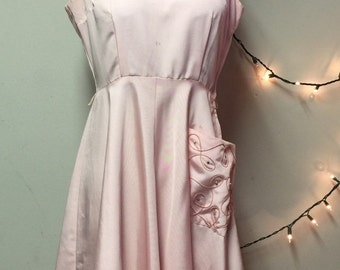 1950's Vintage Pale Pink Acetate Formal Party Dress