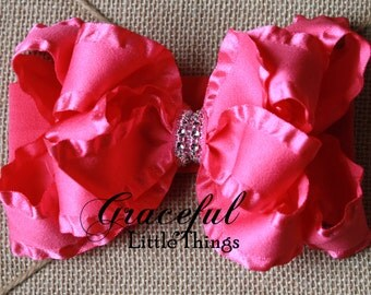 Hot Pink Ruffle Triple Layer bow