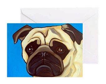 Pug Dog with Light Blue - 4 Greeting Cards By Artist A.V.Apostle