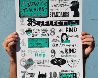 Advice for New Teachers - Screenprint Poster