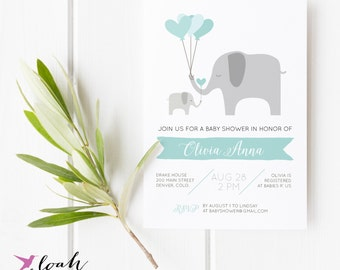 Elephant Baby Shower, Gender Neutral Shower Invitation, Baby Girl Baby Shower, Sip and See, Baby Shower, Sip & See  // 5x7 //  PRINTABLE