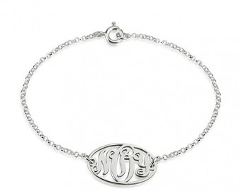 Sterling Silver Circle Monogram Bracelet