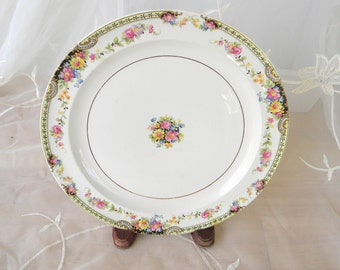 Thompson USA Normandie, China plate, Pink, Blue, Yellow Flowers with Black Accents, Dinner Plate, Vintage Item