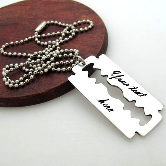 mens necklace personalized razor blade pendant mens gift