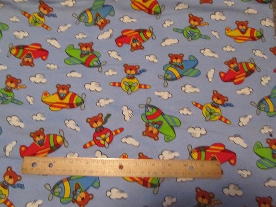 Blue bears flying airplanes flannel fabric by the yard for Childrens airplane fabric