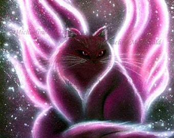 Amethyst Fairy Cat Painting Fantasy Art Print by Michaeline McDonald