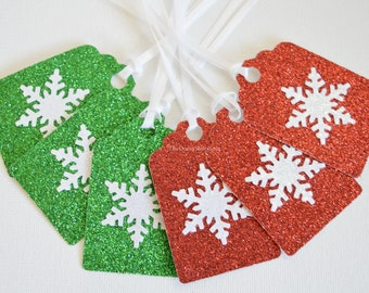 Christmas Glitter Gift Tags - Glitter Hang Tags  Snowflake Gift Tags - Christmas Holiday Gift Tags - Red Green Glitter Tags - 12 Pcs