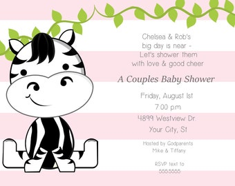 Big Zebra Baby Shower Invitation