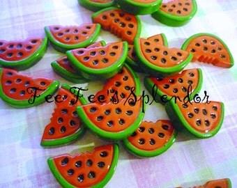 Summer Watermelon fruit cabochon- flat back resin -Hair bow center