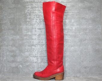 Vtg 70s Red Leather Charles Jourdan OTK Thigh High Boho Campus Boots 6