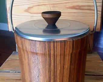 Vintage Ice Bucket Faux Wood