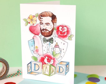 SALE! Bearded Dad Watercolour illustrated greeting card, Blank, Birthdays, Father's day card