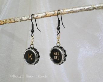 Vintage Typewriter Key Earrings Letter K and Margin Release Key
