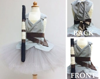 REY JEDI COSTUME 3pc Tutu Dress Set, Felt Staff, Belt, Skywalker, Child, Baby, Toddler, Kids, Halloween, Geekery, Photo Prop, Infant, Girl