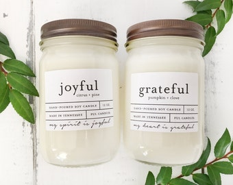 Any TWO 12 oz hand poured soy wax jar candles