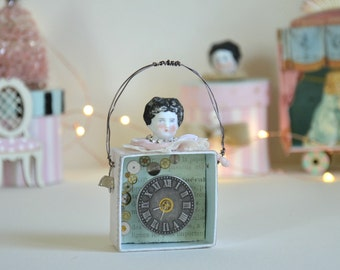Frozen Charlotte / Mixed Media Art / Altered Box / Vintage German Doll Head